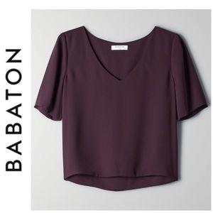 NWT Aritzia Babaton Randy V-neck Blouse in Purple